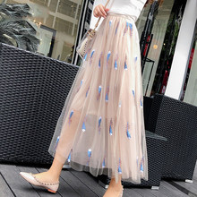 Mid-Calf Length Mesh Skirts Women's Fashion Feather Print Skirts Pink White High Waist Summer Skirts Female 2019 New LDL32(China)