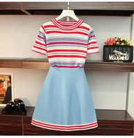 2019 Summer Korean Style Women Stripe Knitted T-shirt + Skirt 2 PCS sets Female Suits A316