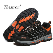 Thestron Man Hiking Shoes Spring Autumn Mountain Male Rubber Bottom Climbing Shoe Men Dark Gray Blue Trekking Sneaker