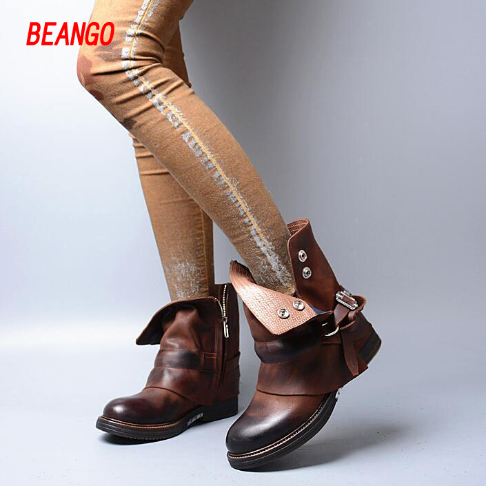 BEANGO European genuine leather buckle square thick heel short boots 2017 british style fashion women boots martin retro boots douglas w hubbard how to measure anything finding the value of intangibles in business
