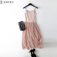 LERFEY Sexy Spaghetti Strap Patchwork Mesh Dress Spring Summer Women Gauze Lace Tank Casual Dresses Sundress