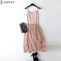 LERFEY Sexy Spaghetti Strap Patchwork Mesh Dress Spring Summer Women Gauze Lace Tank Casual Dresses Sundress