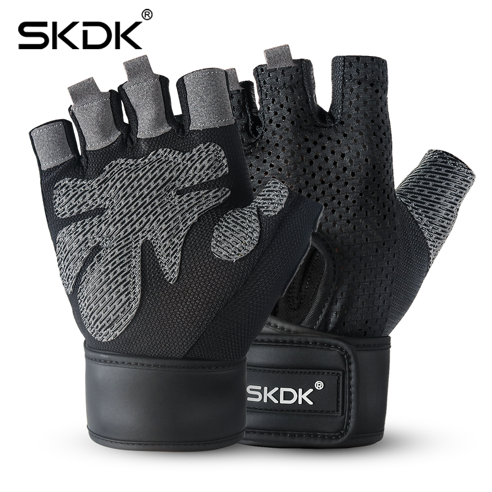 SKDK Breathable Fitness Gym Gloves With Wrist Support Workout Weight Lifting Crossfit Training Cycling Gloves Non-Slip 1Pair