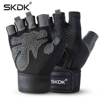 SKDK Breathable Fitness Gym Gloves with Wrist Support Workout Weight Lifting Crossfit Training Cycling Gloves Non-Slip 1Pair mounchain adjustable leather weight lifting fitness crossfit belt lifting strap support stainless lock jaw gym fitness guard
