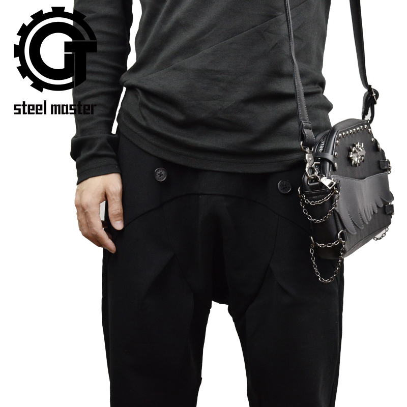 steelsir NEW small unisex black punk shoulder bag goth men women bags vintage travel school handbag crossbody messenger bag дашко д джига с ангелом