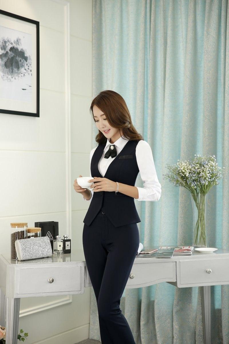Formal 2 unidades set mujeres Trabajo Trajes con pantalones y Top Sets  chaleco y chaleco negro elegante Oficina uniforme estilo en Trajes de  pantalón de La ... e59420838318