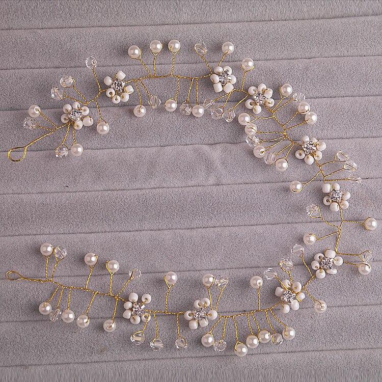 The bride hand woven headdress flower jewelry crystal ornaments beads Korean wedding wedding accessories chain soft hair Весы
