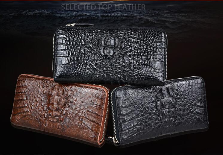 100% genuine alligator skin leather wallet crocodile leather skin wallets and purse for men crocodile head skin zipper closure цены онлайн