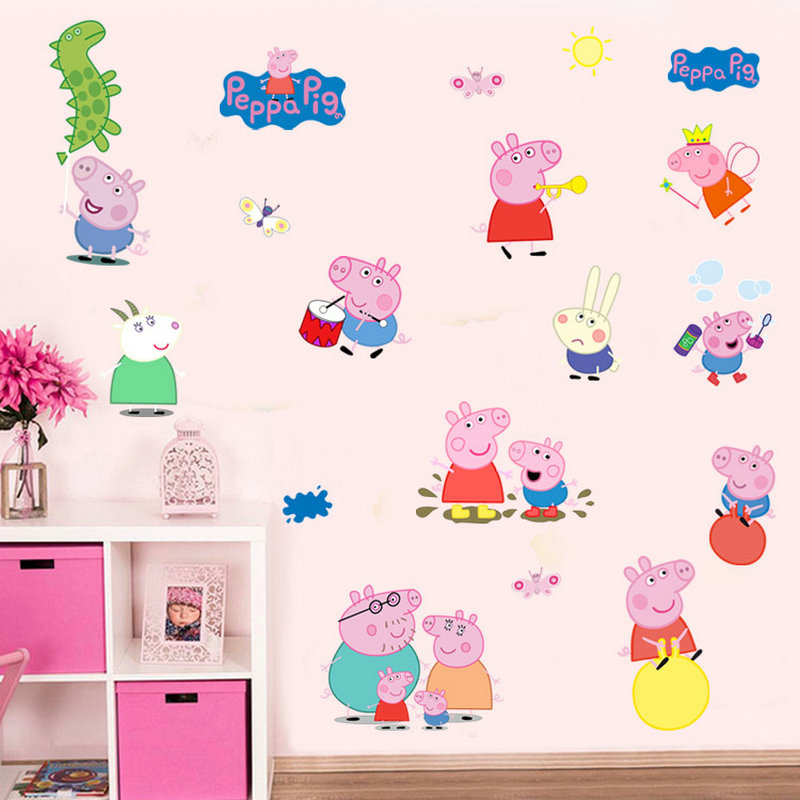 Cartoon Cute Pink Peppa Pig Wall Stickers Home Decor George Pig Family  Decals For Children Room Girl Baby Boy Birthday Gifts In Wall Stickers From  Home ... Part 45