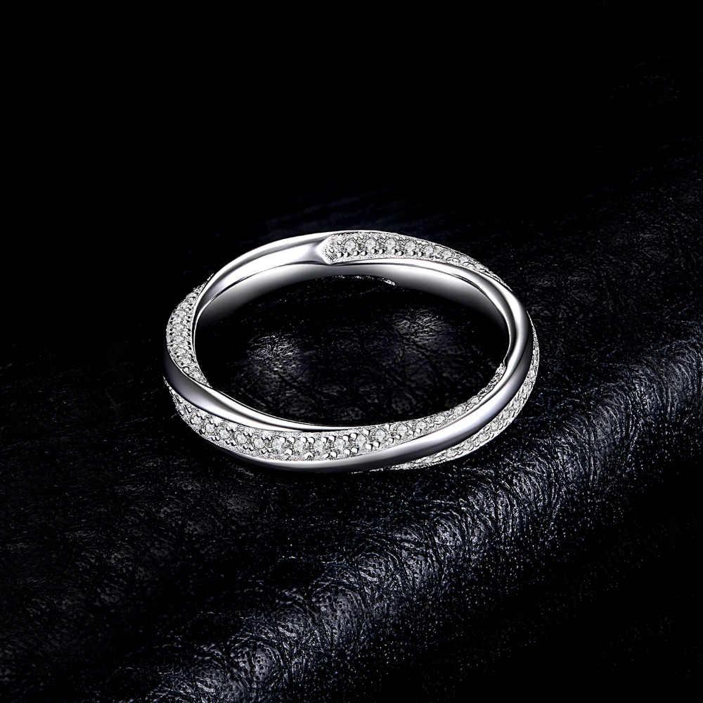 Joyeria Palacio Twisted Promise Cubic Zirconia banda de boda enterity anillo de Plata de Ley 925 para madre e hija