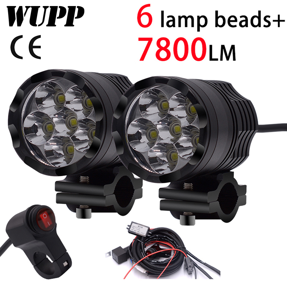2 pièces Universel 6 Puces led ampoule de phare pour Moto Moto Étanche Brouillard Spot 7800 LM Moto Spotlight pour Suzuki/Honda