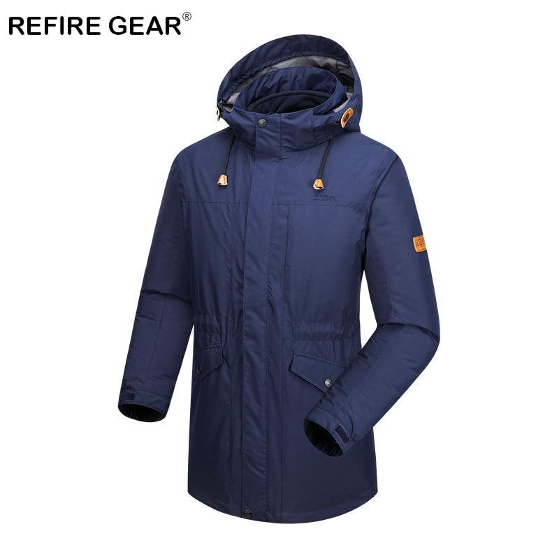 цена на Refire Gear 3 In 1 Winter Warm Fleece Hiking Jacket Men Hooded Waterproof Hunting Jacket Thermal Skiing Camping Windbreaker Coat