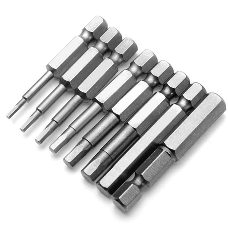 8pcs 1/4'' Hex Shank Screwdriver Hexagon S2 Steel Bits Magnetic Bit Set Screw Drivers H1.5-H8 Power Tool 50mm стоимость
