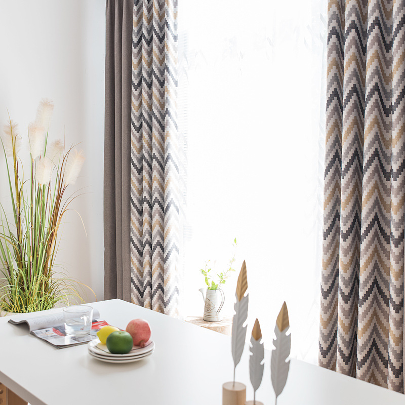 Byetee Modern Living Room Luxury Window Curtains Striped
