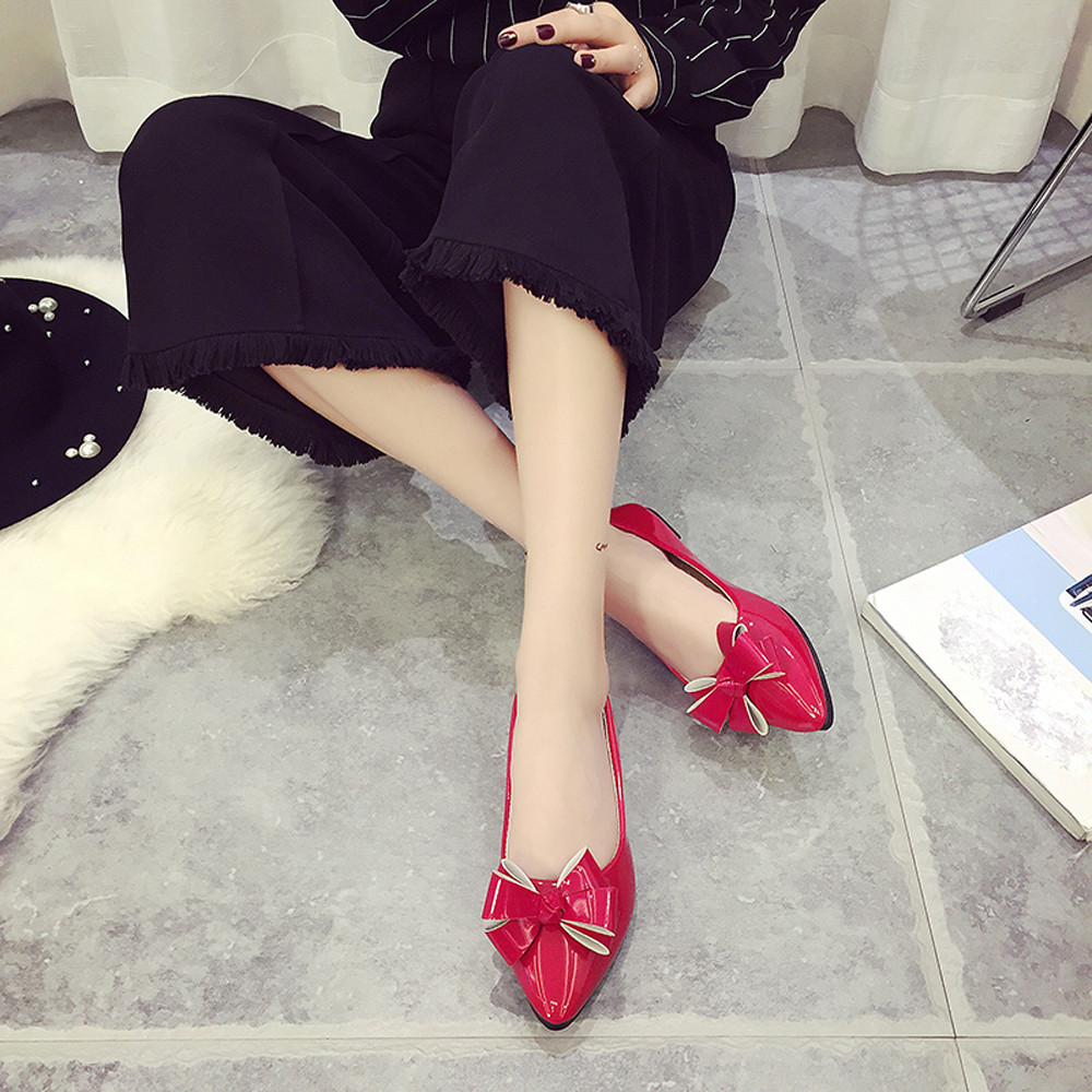 Fashion Women Comfort Shoes Hot Sale Summer Female New Style Bow Pointed Toe Women Flats Woman Flat Shoes Ballet Flats Ladies 2017 new fashion spring ladies pointed toe shoes woman flats crystal diamond silver wedding shoes for bridal plus size hot sale
