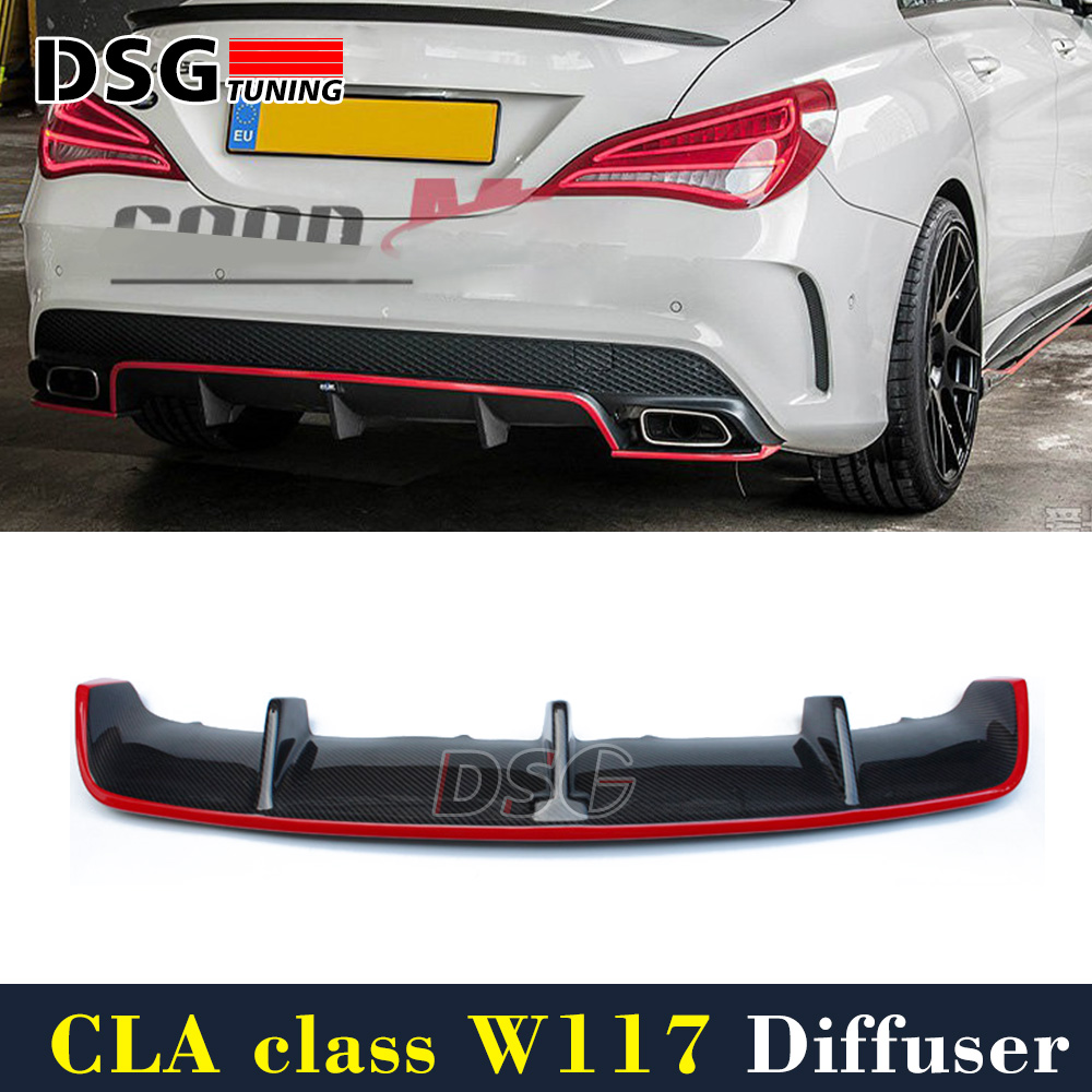 Mercedes W117 Diffuser Carbon Fiber Rear Diffuser with Red Line For Benz CLA Class CLA45 AMG Package