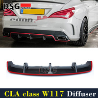 Mercedes W117 Diffuser Carbon Fiber Rear Diffuser with Red Line For Benz CLA Class CLA45 Package