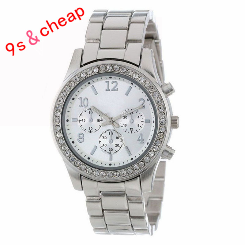 8c8a5e2a97e9 Señoras elegantes de las mujeres cristales de acero inoxidable relojes del  reloj del envío libre  250717