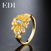 EDI European Royal Topaz With Simulated Diamond Engagement Ring For Women Flower Customized 14K 585 Yellow