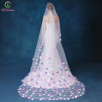 Velo SSYFashion Bride Married Romantic Sweet Flower Wedding Veil 3 Meter Long Tail Bridal Veil Wholesale Wedding Accessories