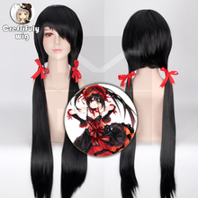 DATE A LIVE Tokisaki Kurumi Straight Long Black Cosplay Wig Ponytail Style Nightmare Halloween Costume Synthetic Wigs For Women