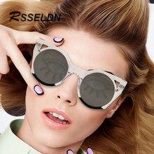Vintga rsseldn 2017 mais recente cat eye óculos de sol das mulheres de design da marca rodada o gradiente lentes uv400 moda óculos de sol acessórios