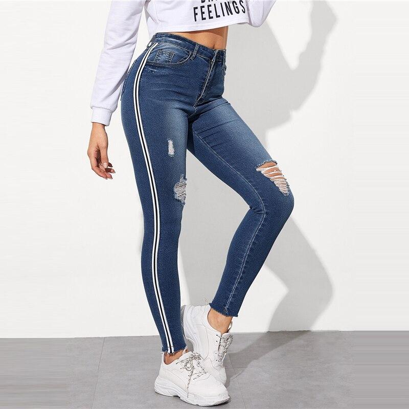 SweatyRocks Stripe Side Ripped Skinny Jeans Leisure Stretchy Long Denim Pants 19 Spring Women Streetwear Casual Blue Jeans 18