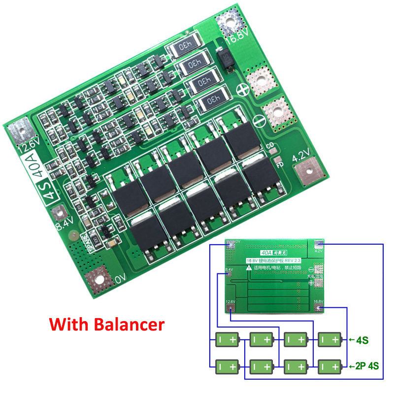 <font><b>4S</b></font> <font><b>40A</b></font> Li-ion Lithium Battery <font><b>18650</b></font> Charger PCB BMS Protection Board with Balance For Drill Motor 14.8V 16.8V Lipo Cell Module image