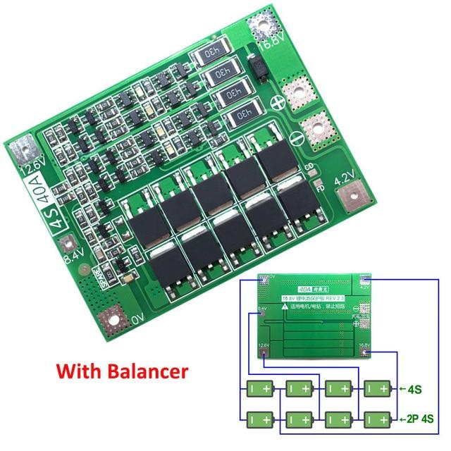 4 S 40A Li-Ion Lithium Batterij 18650 Charger PCB BMS Bescherming Boord met Balans Voor Boor Motor 14.8 V 16.8 V Lipo Mobiele Module