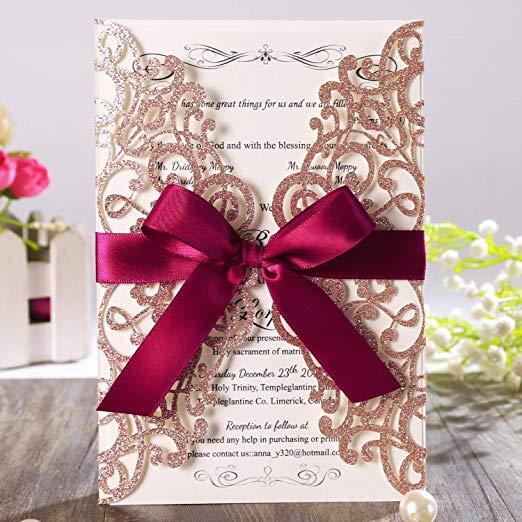 Rose Gold Glitter Laser Cut Wedding Invitation Cards with Burgundy Ribbon and Envelopes for Bridal Shower
