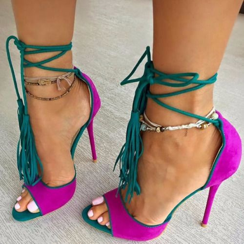 ФОТО Newly arrival mixed color woman pumps stiletto high heels sexy open toe sandals  and lace-up closure type  fringe decoration