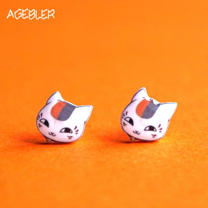 gran descuento 22a07 b38c8 Pendientes de imán de moda para mujeres joyería 925 Pin de plata de ley  lindo Anime Stud pendientes niños Natsume Yuujinchou gato