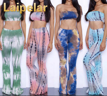Women Tracksuits Flare Wide Leg Pants + Sexy Bra Crop Tops 2 Piece Set Summer Tracksuit Clothing Laipelar Clothes