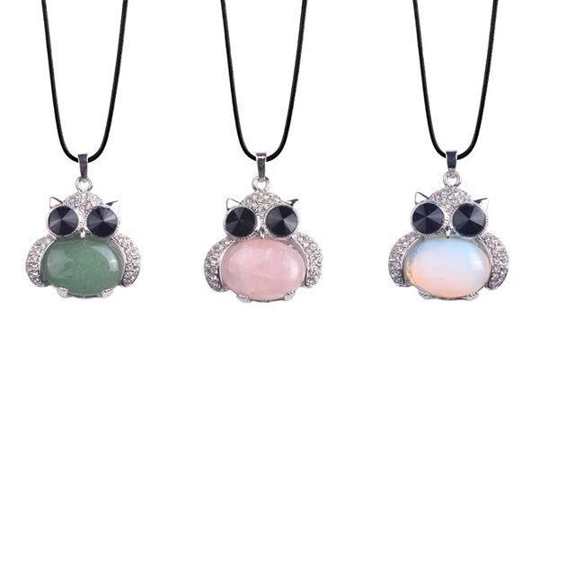 e55a83bd3204 De cristal de piedra Natural búho collares y colgantes de cuarzo rosa  Aventurina verde de las