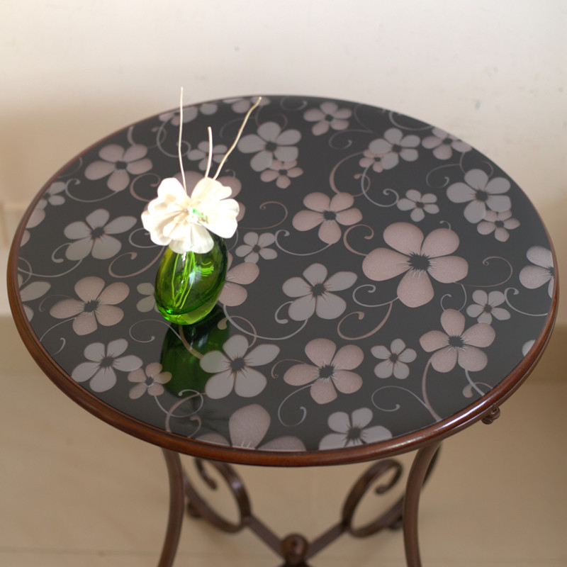 European soft glass round tablecloth Waterproof oil proof PVC round tablecloths Colorful desk mat plastic round dining table pad