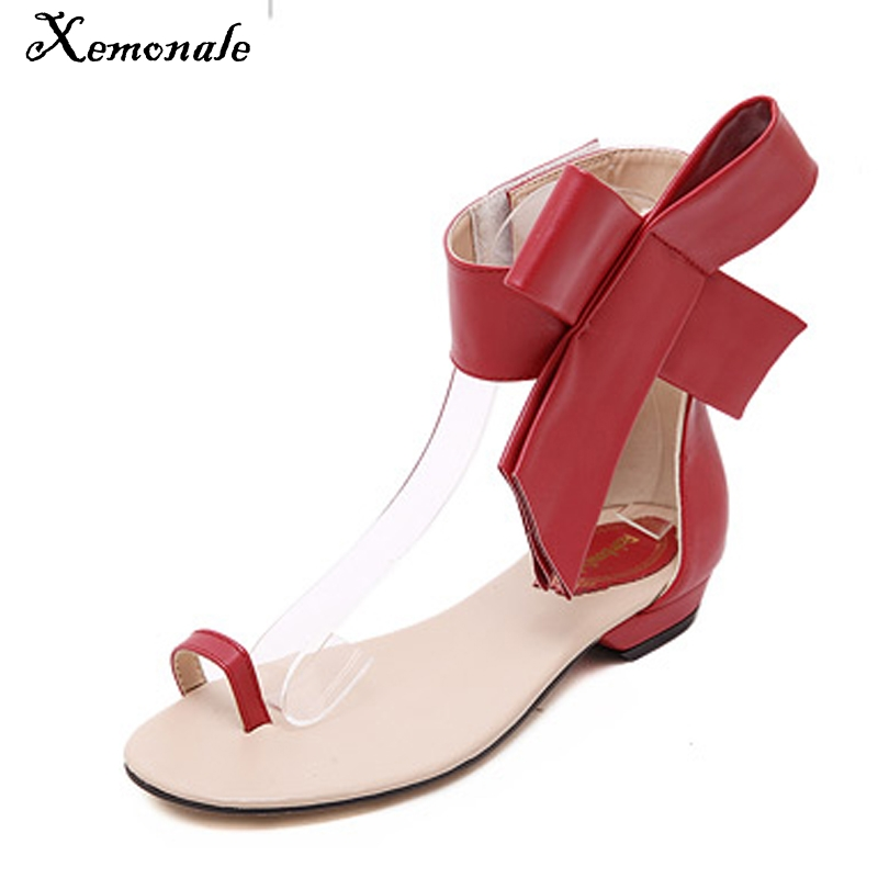 Xemonale Summer Flip Flops With Bowtie 2016 Gladiator Sandals Platform Shoes Woman Fashion Flats Elegant Women Shoes XWZ2207 phyanic summer style shoes woman 2017 new gladiator sandals platform flats fashion creepers women flat shoes 3 colors phy4044