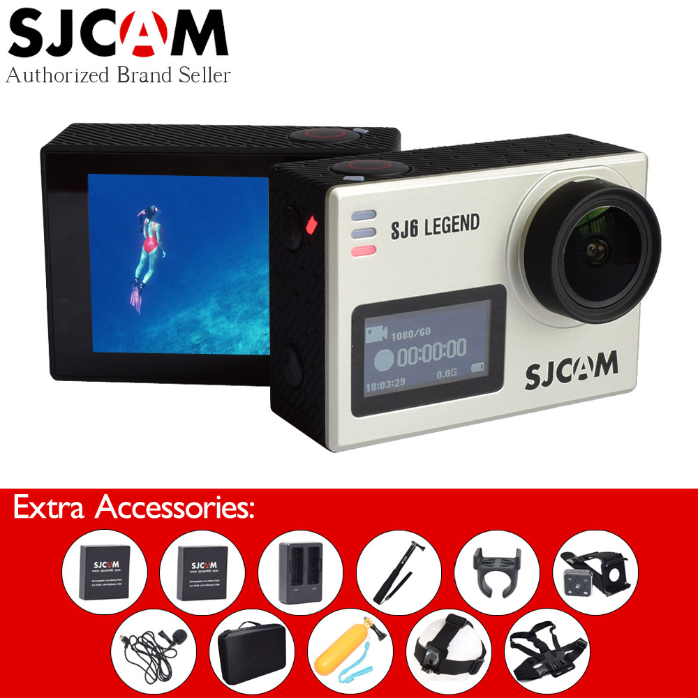 Original SJCAM SJ6 Legend 4K WiFi Action Camera 2 Touch Screen Sport DV+Remote Watch+Selfie Stick+Extended Mic+Many Accessories sjcam sj6 legend