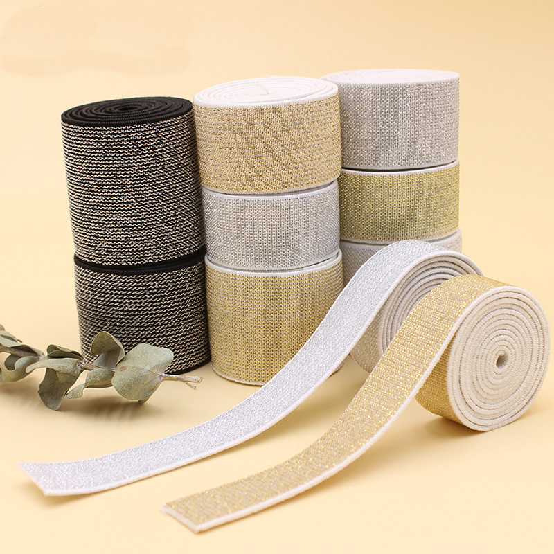 10/15/25/40mm Gold Silk Silver Flat Elastic Bands Glitter Rubber Band DIY Garment Trousers Belt Clothing Sewing Accessories 1m