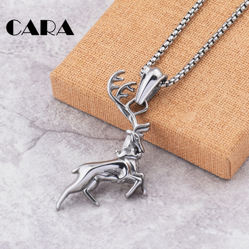 2019 New style Gold color casting 316L stainless steel Christmas deer pendant necklace Fashion Christmas necklace CAGF0420 in Pendant Necklaces from Jewelry Accessories