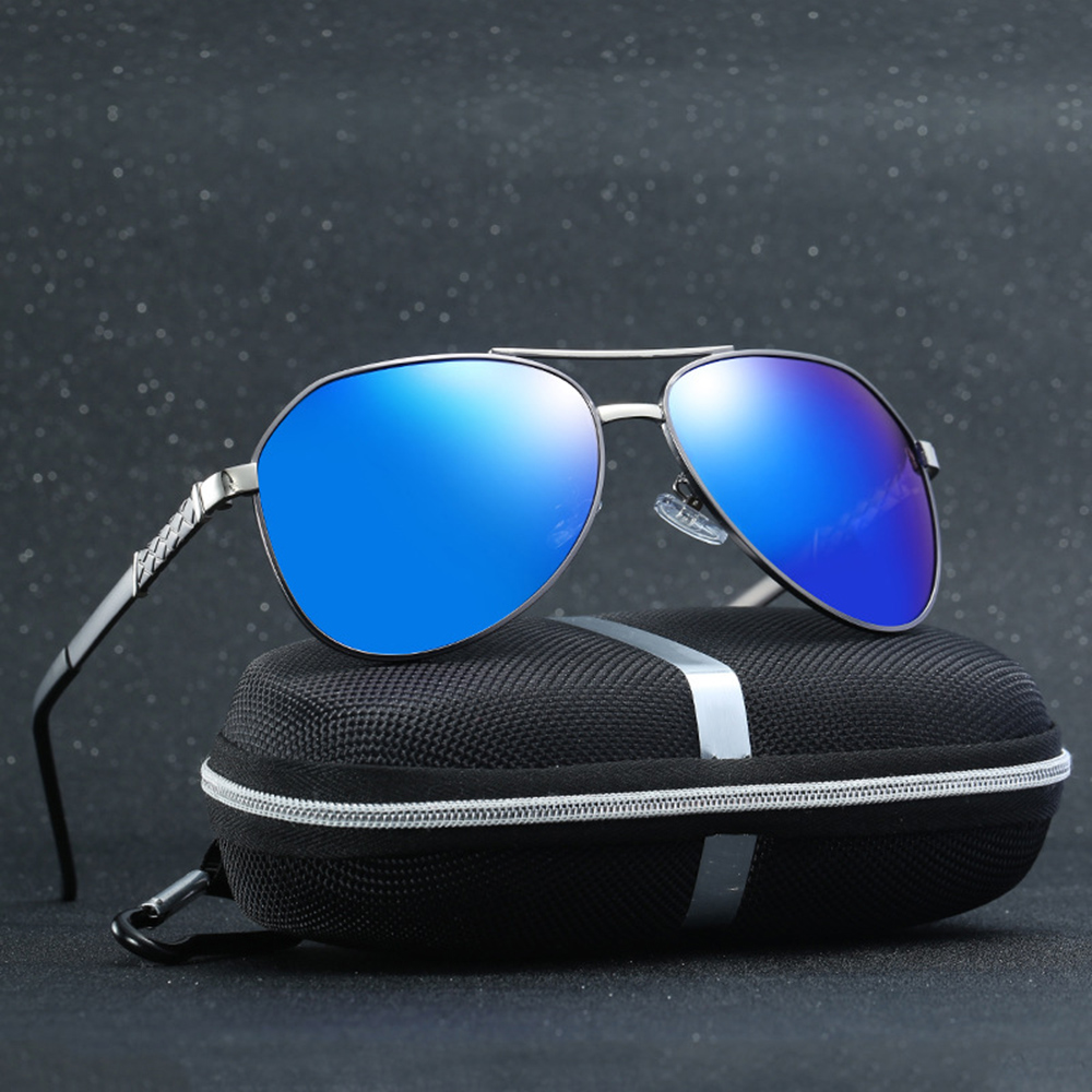 Al-mg Alloy Spring Legs Oversized Pilot Polarized Sunglasses Custom Made Myopia Minus Prescription Lens -1 To-6