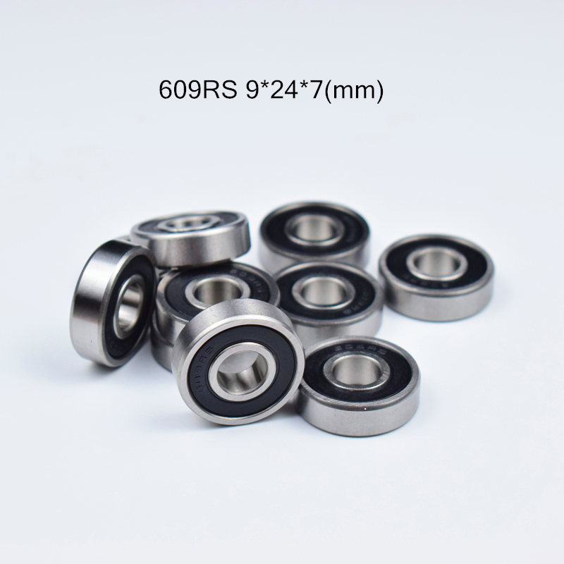 609RS 9*24*7(mm) 10pieces Bearing 10pcs Rubber Sealed Miniature Mini Bearing 609 609RS Chrome Steel Bearing