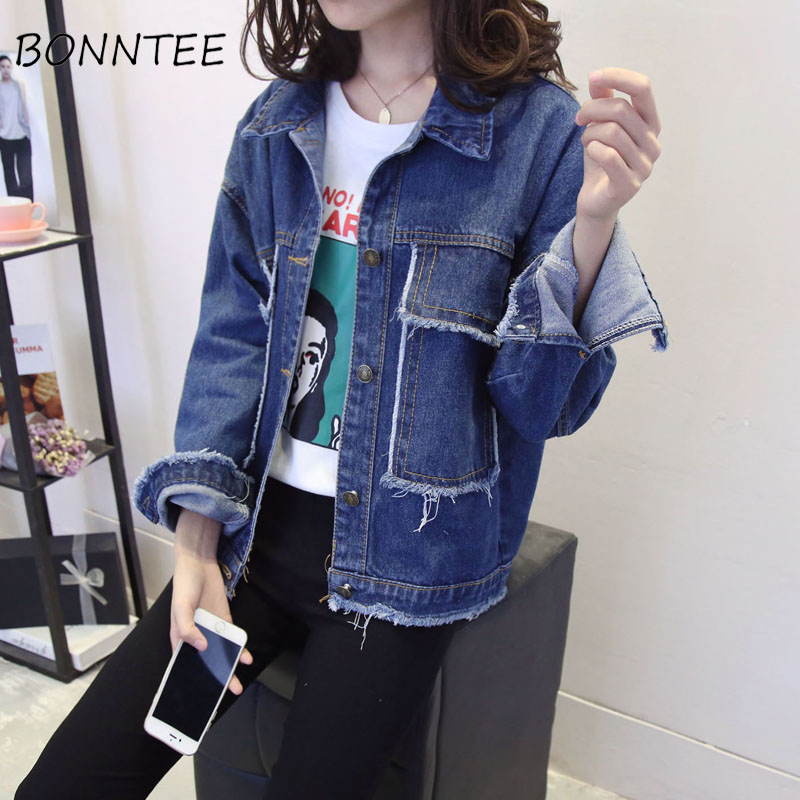 Women New Denim Solid Wide-waisted Long Sleeve Chic   Basic     Jackets   Womens Stand-collar All-match Pockets Korean Style Outerwear
