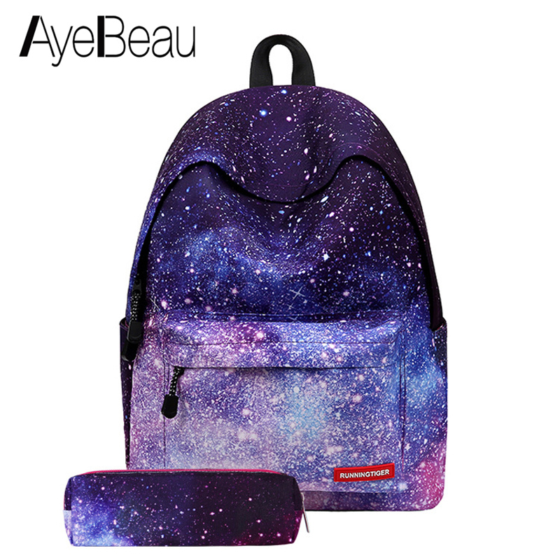 9fe98cb1e3 Cute Portfolio School Bag Teen Printing Backpack Space Female Women  Feminina For Boys Girls Teenager Schoolbag Bagpack Back Pack
