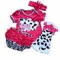 Venda quente bebê recém-nascido conjunto de roupas menina Ruflled roupa dos miúdos Romper Leg warmer Headbands Bloomer desenhos animados da vaca 4 pcs roupas de bebe