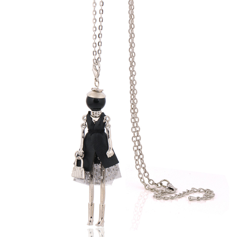 Declaración linda muñeca collar moda cadenas largas collares mujeres accesorios de la joyería colgantes vintage bijoux femenino gran gargantilla