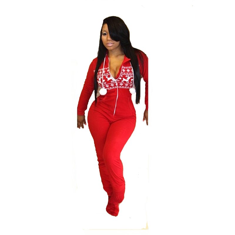 Christmas Romper Pattern Printed Long Sleeves Red Sexy Woman Jumpsuit Club Party Wear Cute Lovely One Piece Jumpsuit L55168