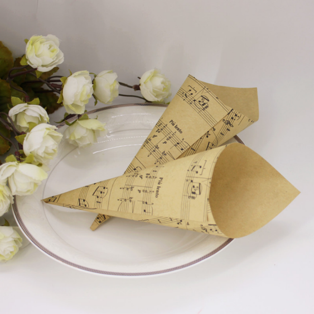 paper cones wedding. 50 pcs brown musical notes wedding favors kraft paper cones candy boxes ice cream diy s