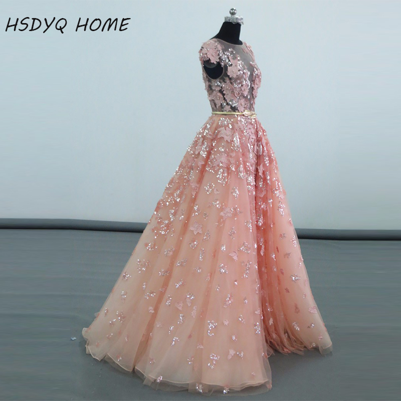 Real Photo 2016 Pink Prom dresses Appliques Sexy See Through Arabic ...