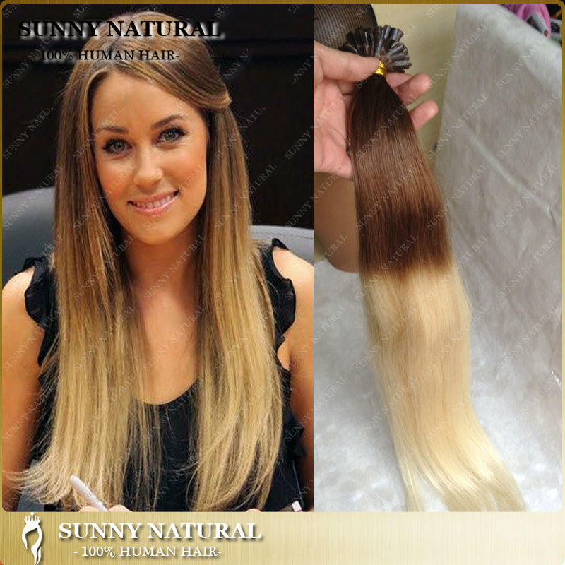 Ombre U Tip Hair Extensions Human 100s Silky Straight Blonde Remy