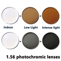 Índice de 1.56 lentes fotosensibles prescription miopía lente protección UV gris, marrón Para La Miopía 0.00-4.00, astigmatismo 0.00-2.00
